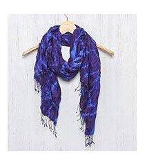silk scarf, 'indigo dance' (thailand)