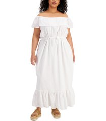 style & co plus size eyelet maxi dress, created for macy's