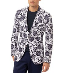 tallia orange men's slim-fit navy & white floral sport coat