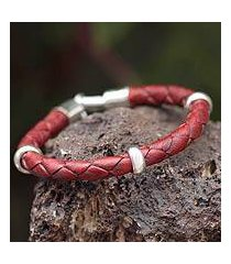 men's braided leather bracelet, 'bold red' (peru)