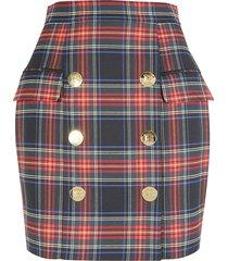balmain checked print skirt