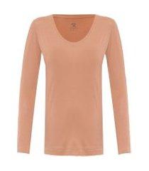 t-shirt feminina pima berlim decote u - bege