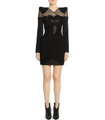 balmain women's draped heart long-sleeve mini dress - black - size 36 (4)