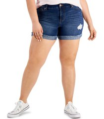 celebrity pink trendy plus size cuffed denim shorts