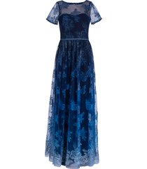 illusion embroidered ombre gown