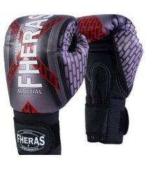 luva boxe muay thai fheras new top iron vermelho 14 oz .