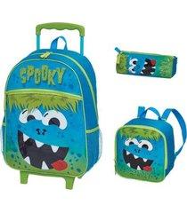 kit mochila com rodinhas spooky com lancheira e estojo