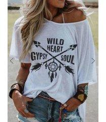 yoins camiseta de manga corta con estampado redondo de flechas y letras cuello