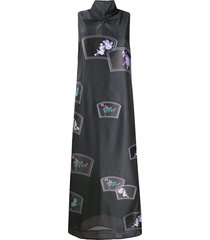 ganni floral-pattern long dress - grey