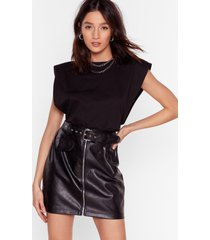 womens all i faux leather wanted mini skirt - black