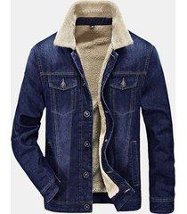 uomo giacca a vento denim in lana alla moda con taschini