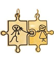 pingente casal de aço inox tudo jóias modelo dominó dourado