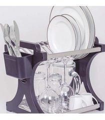 escorredor de pratos domum em inox capacidade para 12 pratos preto