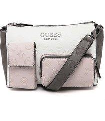 bolso blanco-rosa-gris guess