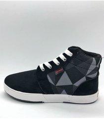 zapatilla negra one foot rombos