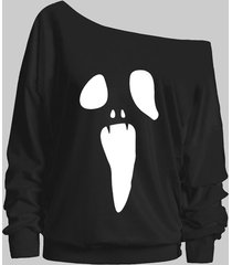 plus size scary face drop shoulder sweatshirt
