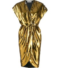 amen sequin cocktail dress - gold