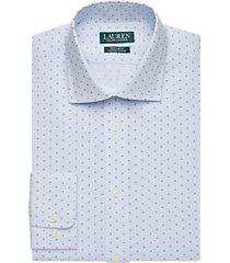 lauren by ralph lauren blue patterned regular fit dress shirt