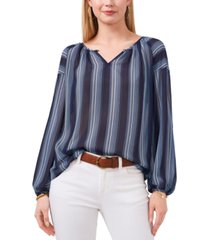 vince camuto dotted stripe peasant blouse