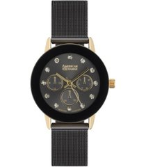 american exchange ladies genuine diamond collection black mesh bracelet watch, 33.5mm