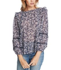 1.state printed crochet-inset top