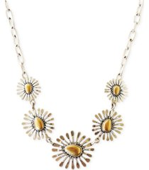 """lucky brand 15"""" two-tone floral collar necklace"""