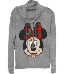 fifth sun juniors disney mickey classic big minnie holiday fleece cowl neck sweatshirt