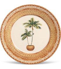 conjunto 6pã§s pratos rasos porto brasil mã´naco vime branco/bege - branco - dafiti