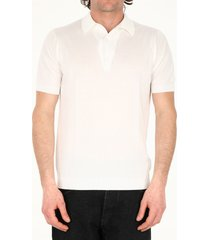 john smedley white cotton polo shirt