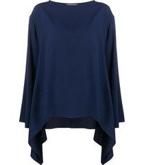 alberta ferretti boat neck waterfall blouse - blue