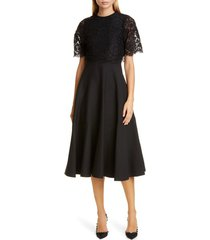 women's valentino lace popover crepe couture midi dress, size 4 us - black