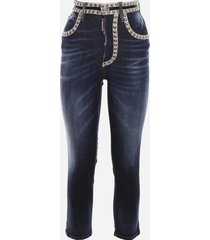 dsquared2 stretch cotton jeans with stud detail