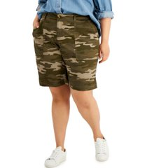 style & co plus size relaxed-fit bermuda shorts, created for macy's