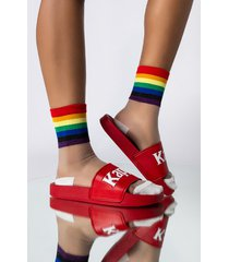 akira rainbow love sheer ankle socks