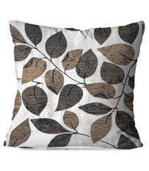 almofada avulsa decorativa folhas marrom 35x35cm