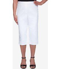 alfred dunner women's missy anchor's away rope embroidered capri pants