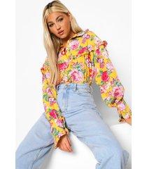 tall geweven bloemenprint blouse met ruches, yellow