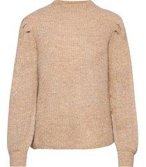 slflipa ls knit t-neck b stickad tröja beige selected femme