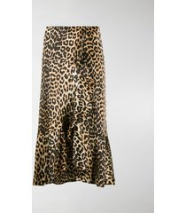 ganni leopard print high-waisted skirt