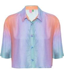 camisa feminina cropped degradê trancoso - lilás