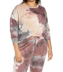 plus size women's socialite curve tie dye sweatshirt, size 1x - purple