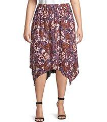 rachel rachel roy women's plus handkerchief-hem floral skirt - red multi - size 3x (22-24)
