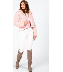 beck faux fur cropped jacket - pink