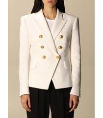 balmain blazer balmain double-breasted jacket in piqué cotton