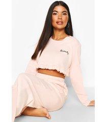 petite 'honey' pyjama set met franjes, blush