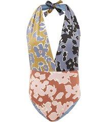 mara floral-print halterneck swimsuit