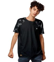camiseta t-shirt raglan flowers design masculina - masculino