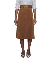 women's gucci belted suede skirt, size 12 us - brown