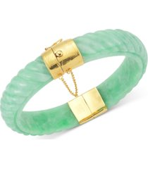 dyed jade bangle bracelet in 14k gold over sterling silver in green, red or black