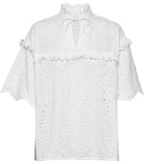 blouse w. frill details and broderi blouses short-sleeved wit coster copenhagen